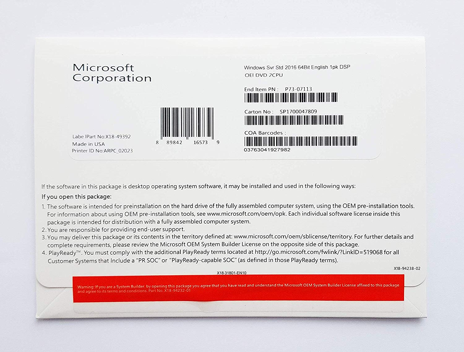 MS WINDOWS SVR STD 2016 64BIT ENGLISH 1PK 16 CORE